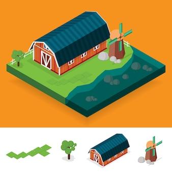 Izometryczny krajobraz gospodarstwa