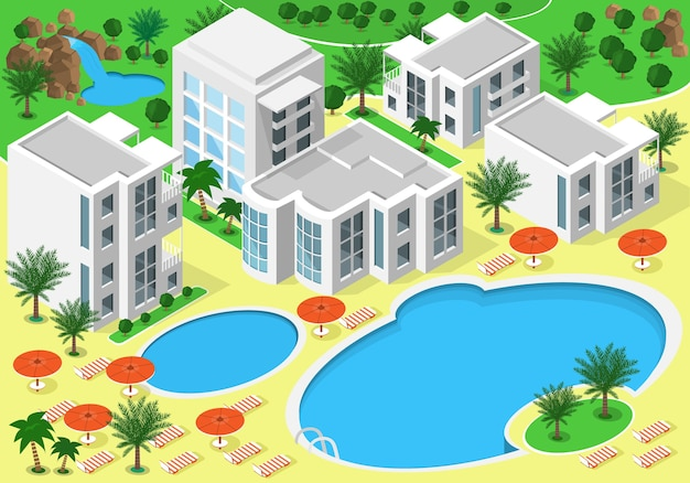Izometryczny krajobraz luksusowego hotelu przy plaży z basenami do letniego wypoczynku. zestaw szczegółowych budynków, jezior, wodospadu, plaży z palmami. mapa izometryczna