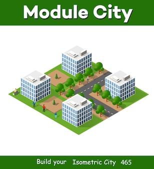 Izometryczny krajobraz miasta 3d z domami, ogrodami i ulicami w trójwymiarowym widoku z góry