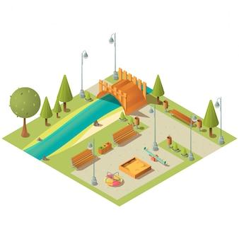 Izometryczny krajobraz parku miejskiego z placem zabaw