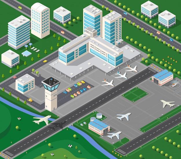 Izometryczny krajobraz przemysłowy
