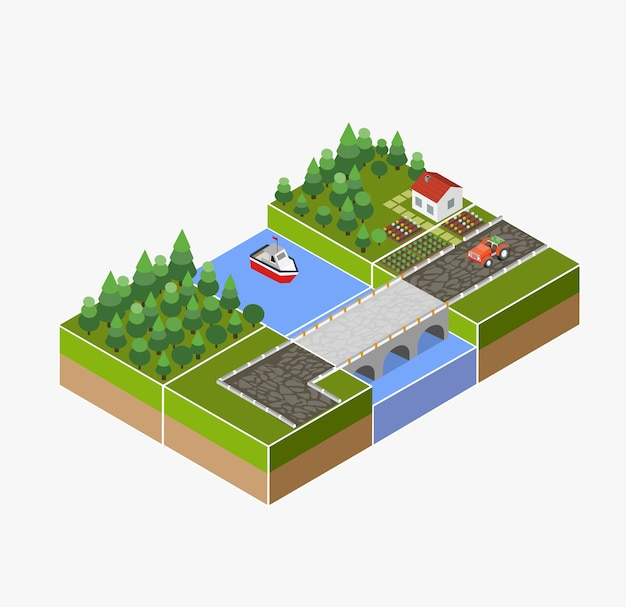 Izometryczny krajobraz wsi z farmy, ciągnika, zbiorów, łóżek i rzeki.
