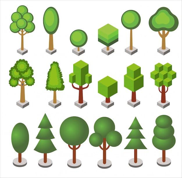 Izometryczny kreskówka zestaw drzew i krzewów leśnych i miejskich o różnych kształtach geometrycznych na białym tle.