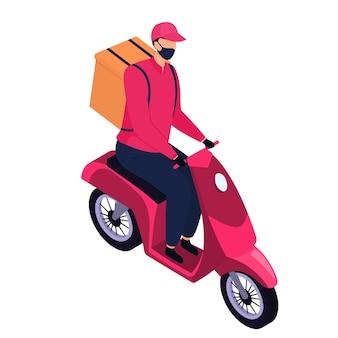 Izometryczny kurier w masce ochronnej dostarczający paczki motocyklem