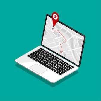 Izometryczny laptop z nawigacją po mapie na ekranie. nawigator gps z czerwoną końcówką. mapa miasta ze znacznikami punktów.