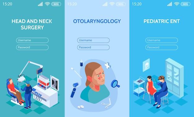 Izometryczny lekarz ent pionowe banery ustawione na mobilną stronę internetową z polami do wpisania nazwy użytkownika i hasła