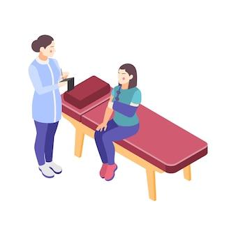 Izometryczny lekarz kliniki ortopedycznej i kobieta z ilustracją złamaną rękę