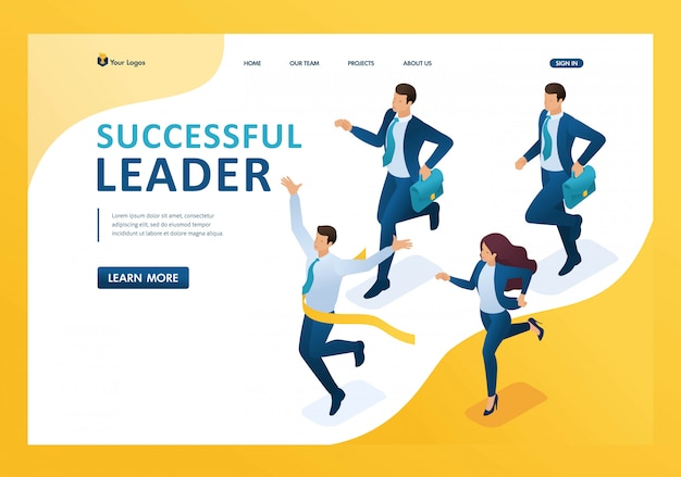 Izometryczny lider odnoszący sukcesy, prowadzący wyścig, wygrywający za każdą stronę docelową kosztów