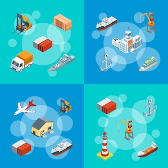 Izometryczny logistyki morskiej i ilustracji zestaw portów morskich