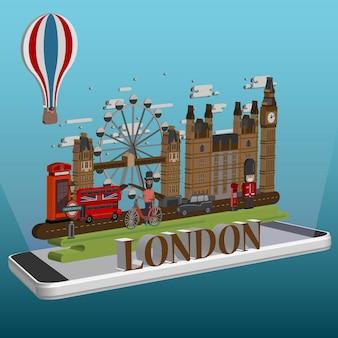 Izometryczny londyn miasto na telefon komórkowy