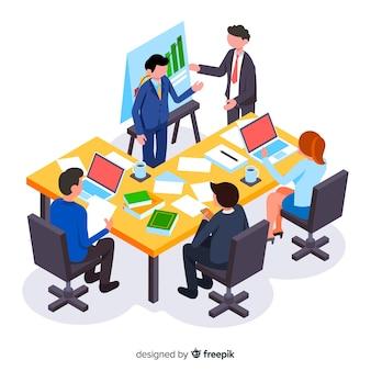 Izometryczny ludzi biznesu na spotkaniu