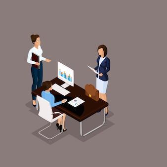 Izometryczny ludzie 3d biznesmen. dyskusja pracowników biura, rozwiązywanie problemów, w biurze dyrektora na niebieskim tle