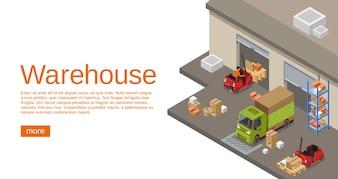 Izometryczny magazyn 3D transportu magazynowego i logistycznego na stronę internetową