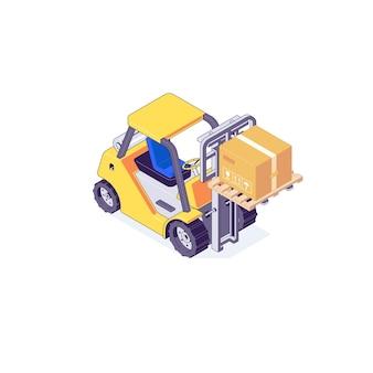 Izometryczny magazyn paletowy wózek widłowy i ilustracja maszyny