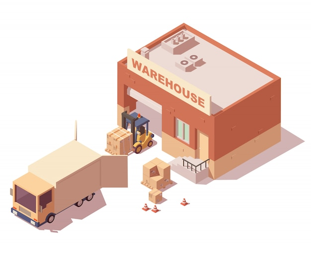 Izometryczny magazyn z ciężarówkami, wózkami widłowymi i skrzyniami dostawczymi