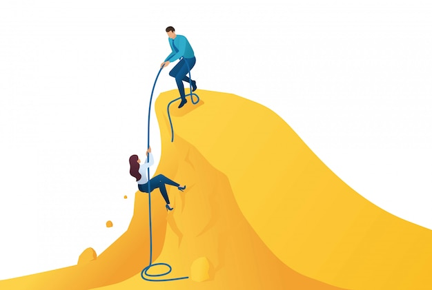 Izometryczny mentor pomocy, aby osiągnąć cel, wspiąć się na ścieżkę do sukcesu.
