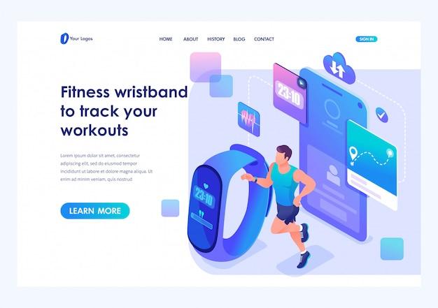 Izometryczny mężczyzna biegnie za pomocą bransoletki fitness i śledzi swoje treningi. szablon strony docelowej witryny