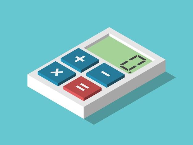 Izometryczny minimalny kalkulator z czterema przyciskami plus minus mnożenie znaków równości