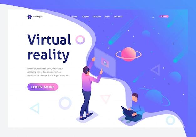 Izometryczny młody człowiek prowadzi wirtualną rzeczywistość za pomocą wirtualnych okularów