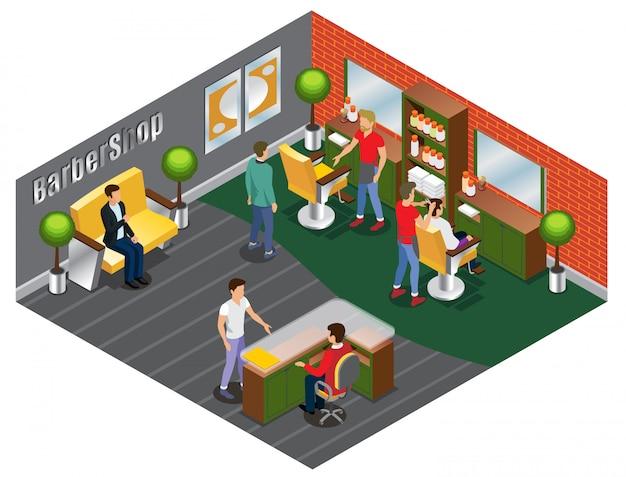 Izometryczny modny szablon sklepu fryzjerskiego z elementami wnętrza klientów fryzjerów i profesjonalnymi akcesoriami na białym tle