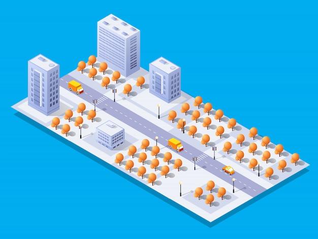 Izometryczny moduł 3d bloku dzielnica miasta z drapaczem chmur przy ulicy
