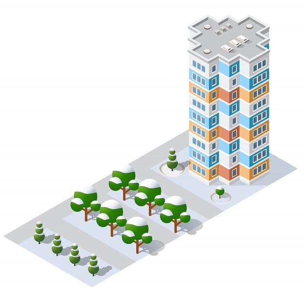 Izometryczny moduł 3d części bloku dzielnicy