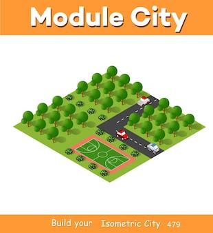 Izometryczny moduł blokowy 3d z dzielnicowego placu zabaw