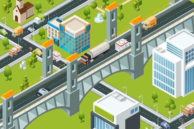Izometryczny most miejski. pociąg kolejowy wiadukt miejski krajobraz 3d mapa trasy zdjęcia drogi