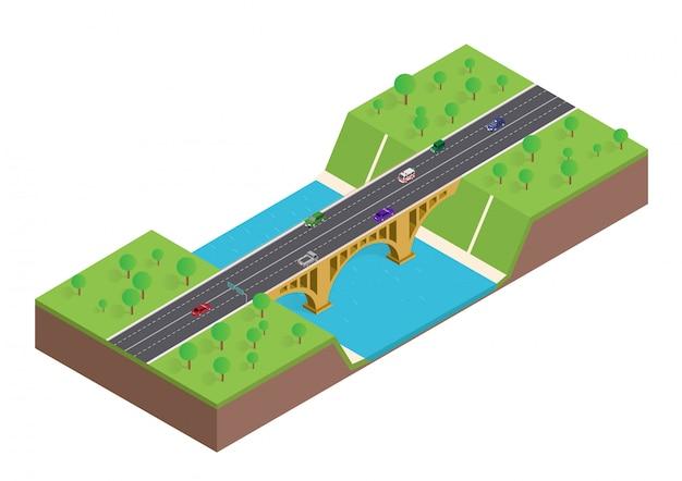 Izometryczny most nad rzeką z samochodem i drzewami
