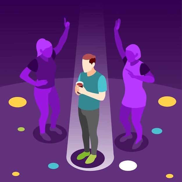 Izometryczny nastolatek marzy o tańcu z dziewczynami na nocnej imprezie