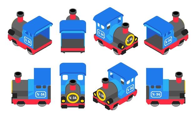 Izometryczny niebieski pociąg