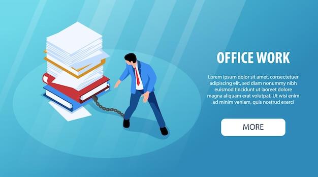 Izometryczny niezorganizowanej pracy biurowej poziomy baner