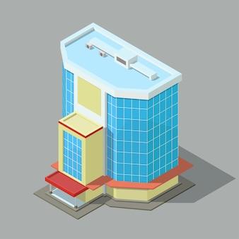 Izometryczny nowoczesny budynek biurowy lub hotelowy na białym tle.