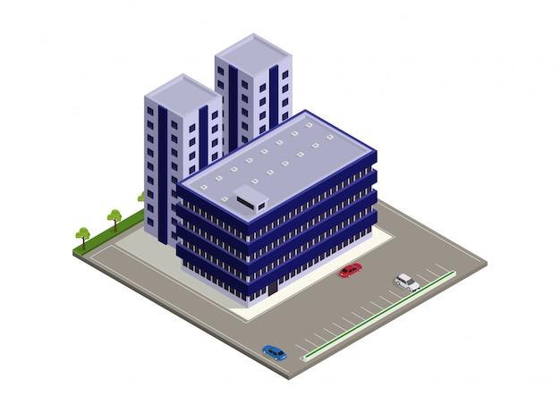 Izometryczny nowoczesny budynek