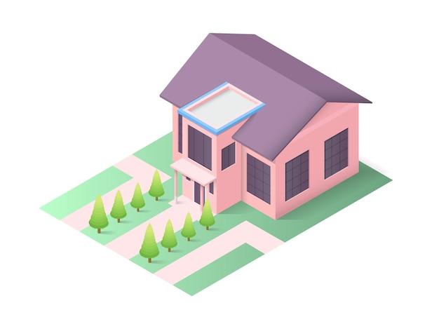 Izometryczny nowoczesny dom z drzewami