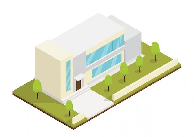 Izometryczny nowoczesny dom z parkiem