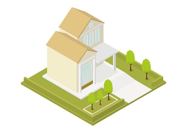 Izometryczny nowoczesny dom