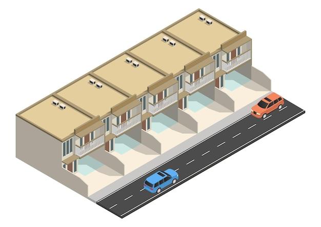 Izometryczny nowoczesny minimalistyczny dom z drogą i samochodem