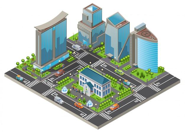 Izometryczny nowoczesny szablon miasta z budynkami biurowymi i mieszkalnymi samochody drzewa drogi ludzie odwiedzający muzeum na białym tle