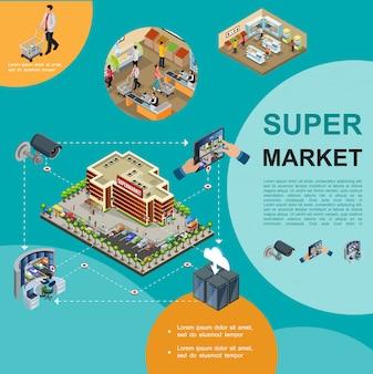 Izometryczny nowoczesny szablon supermarketu z centrum handlowym budującym parkingi ludzie kupujący produkty w systemie nadzoru wideo bezpieczeństwa hali