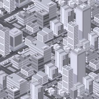 Izometryczny obszar miejski z budową trawników