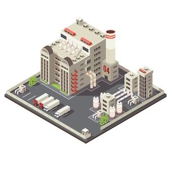 Izometryczny obszar przemysłowy fabryki