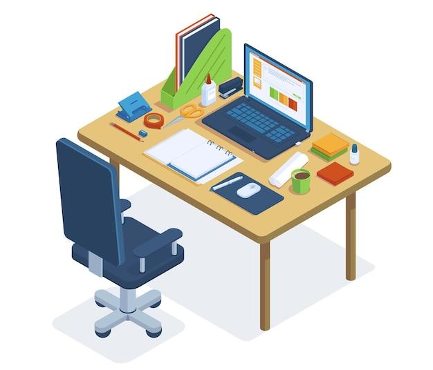 Izometryczny obszar roboczy biura. freelance lub coworking biurko, laptop, krzesło biurowe i narzędzia biurowe zestaw ilustracji wektorowych. biuro 3d w miejscu pracy z izometrycznym laptopem