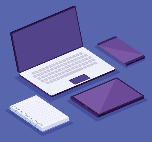 Izometryczny obszar roboczy urządzenia elektronicznego zestaw ikon ilustracja projekt