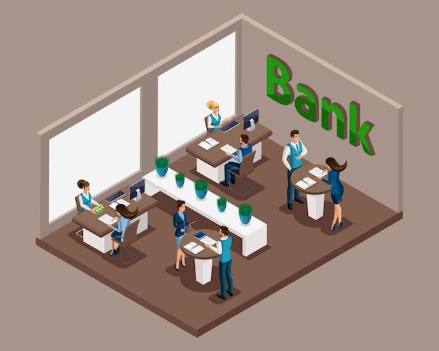 Izometryczny oddział banku, pracownicy banku obsługują klientów, udzielanie kredytów, karty kredytowe, lokaty, komórki bankowe. e-usługa