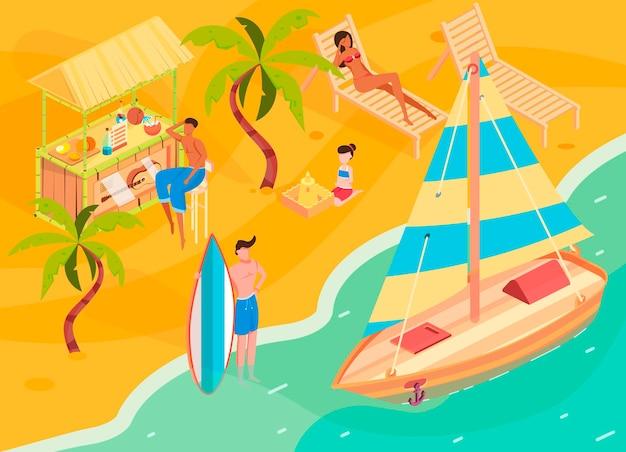 Izometryczny odpoczynek tropikalny z symbolami kurortu plażowego