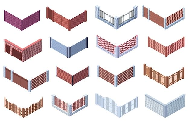 Izometryczny ogród lub dom podmiejski 3d ogrodzenia bramy. drewniane, metalowe kraty, kamienne bramy ogrodzenia wektor zestaw ilustracji. ogrodzenie dziedzińca, granica muru ceglanego z wejściem. teren prywatny