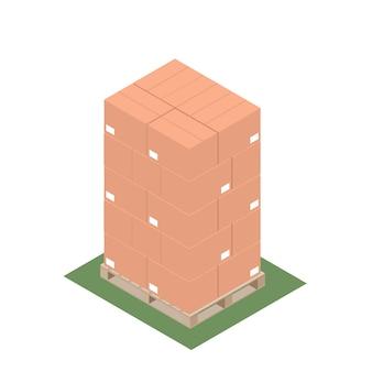Izometryczny palet z ułożonymi pudełkami na eksport