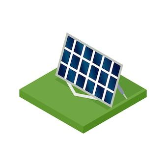 Izometryczny panel słoneczny. pojęcie czystej energii. czysta ekologiczna moc. energia elektryczna ze słońca