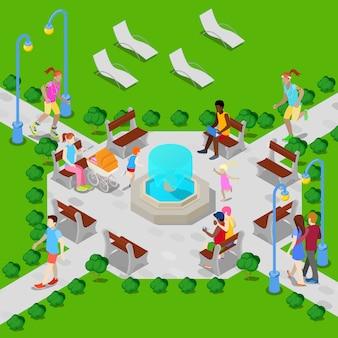 Izometryczny park miejski z fontanną. aktywni ludzie chodzą w parku.